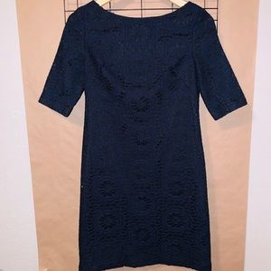 ADRIANNA PAPELL NAVY BLUE LACE DRESS